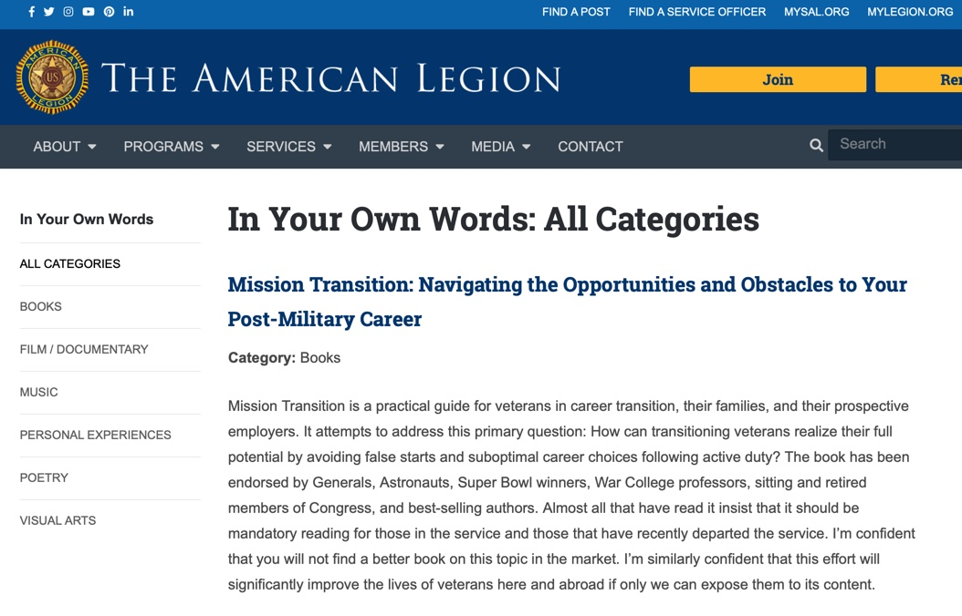"American Legion ""In Your Own Words"" Article"